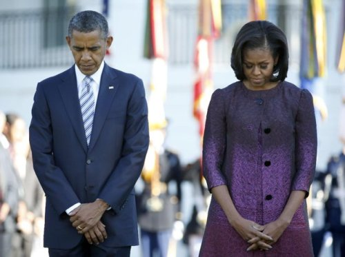 The President and First Lady in a moment of silence for 9/11 on September 11th 2013
