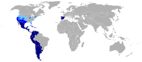 Heat map of where Spanish is spoken as a first language.