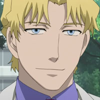 A japanese anime character with blonde hair, oval blue eyes and along slender nose