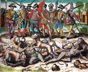 Pating of conquistadors watching as dogs attack indigenous people