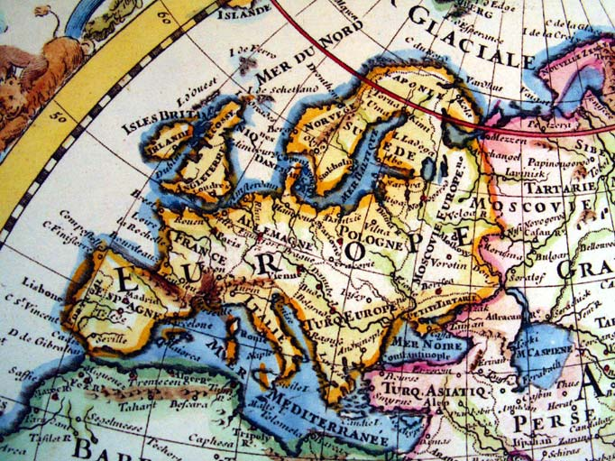 Black And White Map Europe 1700s