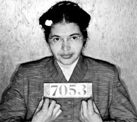 Rosa Louise McCauley Parks (1913-2005), American Civil Rights activist. Booking photo taken at the time of her arrest for refusing to give up her seat on a Montgomery, Alabama, bus to a white passenger on 1 December 1955.
