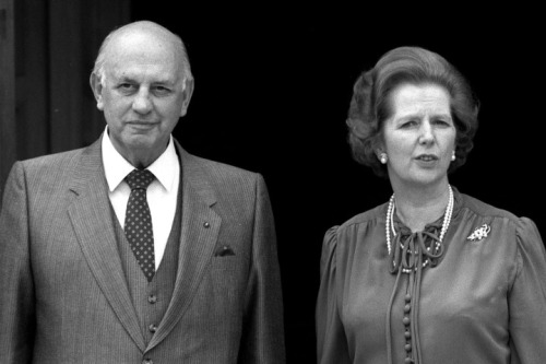 Political Personalities. pic: 6th February 1984. British Prime Minister Margaret Thatcher pictured with the South African Premier P.W.Botha at Chequers.