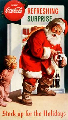Santa enjoys a Coke Cola