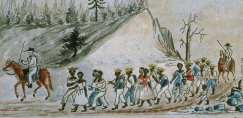 a Slaves walking from Staunton, Virginia to Tennessee 1850s Lewis Miller, Sketchbook of Landscapes in the State of Virginia, 1853-1867.