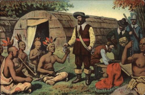 Postcard showing Battery Park in 1626: Peter Minuit buying Manhattan for some worthless glass beads