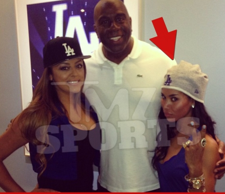 Stiviano and friend with Magic Johnson