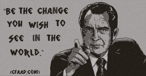 Richard Nixon Ghandi quote newspaper black and white