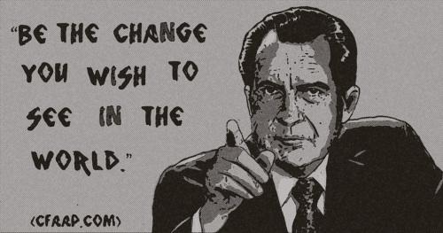 Richard Nixon Ghandi quote newspaper black and white