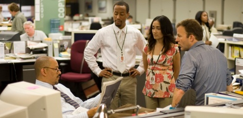 "Editor Gus Haynes with reporters Mike Fletcher, Alma Gutierrez and Scott Templeton in the newsroom of Season 5 of ""The Wire"""