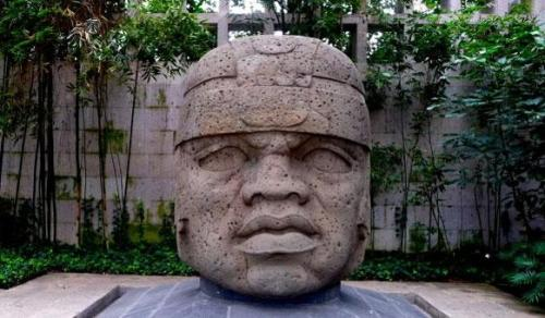 Olmec head, Mexico. These were made from -1500 to -400.