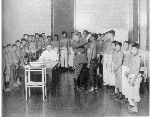 Room of young male detainees at Angel Island c.1920s.