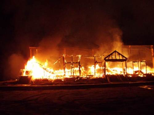 The Macedonia Church of God in Christ in Springfield, Mass., burns on Nov. 5, 2008. Some firefighters were injured battling the blaze.