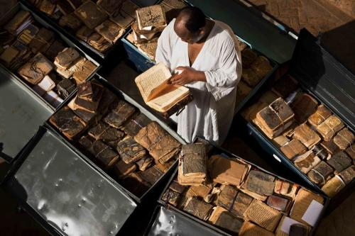 Ancient manuscripts from Mali, Niger, Ethiopia, Sudan and Nigeria line storage cases at Abdel Kader Haidara's home, the director of Bibliotheque Mama Haidara De Manuscripts, Timbuktu. These manuscripts lr_mvg6sbUVCV1qgfbgio2_1280