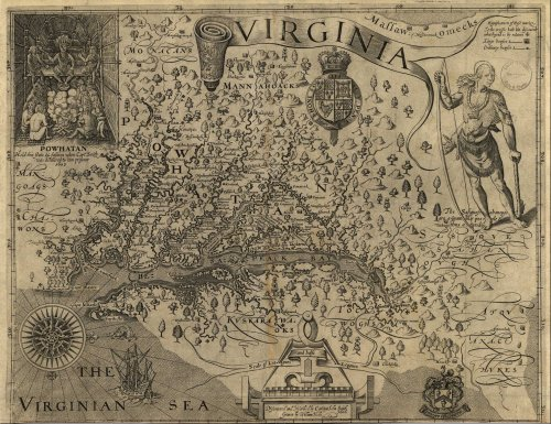 10. Captain John Smith's map of the Chesapeake Bay with named settlements