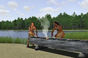 2. Algonquians making dugout canoe