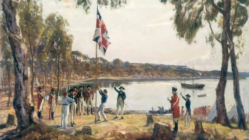 sydney-cove-jan-26th-1788-a-1937-oil-sketch-by-algernon-talmage