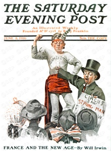 the-circus-strongman-saturday-evening-post-cover-6-3-1916-norman-rockwell