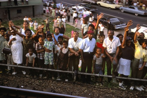 USA. Baltimore, Maryland. 1968. Robert Kennedy funeral train.