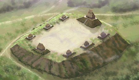 An artists illustration of the Emerald Mound Site, (22 AD 504), a Plaquemine culture mound site in Adams County, Mississippi inhabited from 1200 to 1700 CE. Illustrated by Herb Roe 2011.
